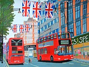 Magdalena Frohnsdorff Framed Prints - Oxford Street- Queens Diamond Jubilee  Framed Print by Magdalena Frohnsdorff