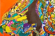 Woman Tapestries - Textiles Metal Prints - Oya I Metal Print by Apanaki Temitayo M