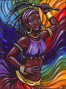 Santeria Paintings - Oya I Orisha Of Lightning by Carolina Gonzalez