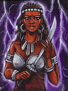 Santeria Paintings - Oya II Orisha Of Lightning by Carolina Gonzalez
