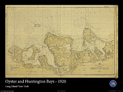 Nautical Chart Prints - Oyster and Huntington Bays Print by Adelaide Images