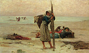 Figures Painting Prints - Oyster Catching Print by Pierre Celestin Billet