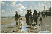 Oysters Painting Prints - Oyster Gatherers at Cancale Print by John Singer sargent