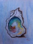 Aphrodisiac Posters - Oyster Shell of Blue  Poster by Michelle Davis Reed