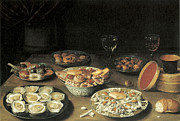 Wine Glasses Paintings - Oysters with Five Dishes of Delicacies and Two Wine Glasses by Osias Beert the Elder