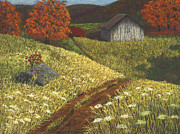 Barn Pastels Prints - Ozark Barn Autumn Print by Garry McMichael