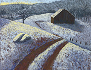 Winter Scene Pastels Metal Prints - Ozark Winter Barn Metal Print by Garry McMichael