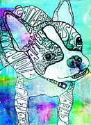 Boston Terrier Art Paintings - Ozzy Boy Blues by Robin Mead