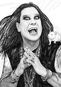 Award Drawings Metal Prints - Ozzy osbourne art drawing sketch portrait Metal Print by Kim Wang