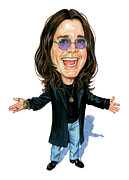 Caricature Painting Framed Prints - Ozzy Osbourne Framed Print by Art