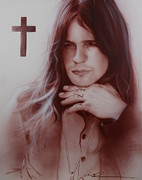 Grunge Paintings - Ozzy Osbourne by Christian Chapman Art