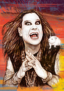 Lead Mixed Media Framed Prints - Ozzy Osbourne long stylised drawing art poster Framed Print by Kim Wang