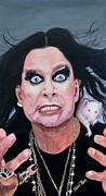 Crazy Painting Acrylic Prints - Ozzy Osbourne Acrylic Print by Shirl Theis