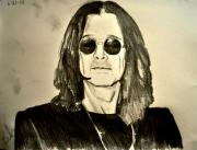 Music Legend Drawings - OZZY Plain and Simple by Ruben Barbosa