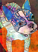 Boston Terrier Art Paintings - Ozzy the Wonder Dog by Robin Mead