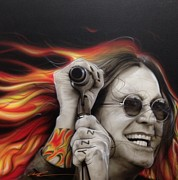 Celebrities Painting Metal Prints - Ozzys Fire Metal Print by Christian Chapman Art