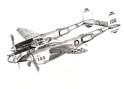 Lightning Drawings Prints - P-38 Lightning Print by Jimmy McAlister
