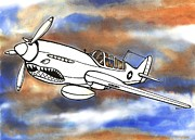 Scott Nelson And Son Mixed Media Prints - P-40 Warhawk 1 Print by Scott Nelson
