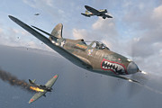 Wwii Prints - P-400 Hells Bells Print by Robert Perry