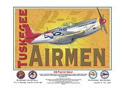 Republic Mixed Media Posters - P-51 D Tuskegee Airmen Poster by Kenneth De Tore