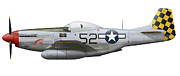 Us Army Air Force Digital Art Posters - P-51d Mustang, Nicknamed Shimmy Iv Poster by Inkworm