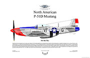 Aircraft Artist Framed Prints - P-51D Mustang Old Red Nose Framed Print by Arthur Eggers