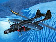 Aircraft Art Framed Prints - P-61 Black Widow  Caught in the Web Framed Print by Stu Shepherd