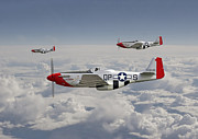 Usaaf Digital Art Posters - P51 - 334th Fighting Eagles Poster by Pat Speirs
