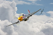 Fighter Aircraft Prints - P51 Mustang and Me 262 Print by Pat Speirs