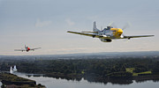 D Digital Art Posters - P51 Mustang - Rail Strike Poster by Pat Speirs