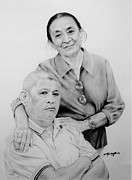 Hong Kong Drawings - Pa and Ma by Janet Gupta