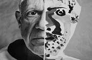 Pablo Picasso Digital Art Prints - Pablo Black And White Print by Rob Hans