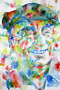Pablo Framed Prints - PABLO NERUDA - watercolor portrait Framed Print by Fabrizio Cassetta