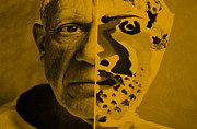Pablo Picasso Digital Art Prints - Pablo Orange Print by Rob Hans