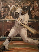 Home Run Paintings - Pablo Sandoval Home Run by Darren Kerr
