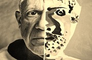 Pablo Picasso Digital Art Prints - Pablo Sepia Print by Rob Hans