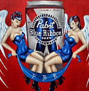Pabst Blue Ribbon Beer Print by Lauren Hunter