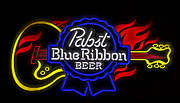 New Melle Prints - Pabst Blue Ribbon Sign Print by Linda Tiepelman