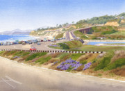 Highway Painting Posters - Pacific Coast Hwy Del Mar Poster by Mary Helmreich