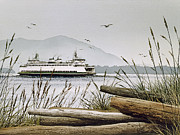San Juan Painting Metal Prints - Pacific Northwest Ferry Metal Print by James Williamson