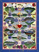 Quilt Posters - Pacific Northwest Quilt Poster by Jennifer Lake