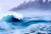 Surf Artist Paintings - Pacific Power  by Michael Swanson
