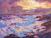 Most Popular Painting Originals - Pacific Shores Sunset by David Lloyd Glover