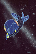Cosmology Paintings - Pacific Space Turtle by Jon  Lomberg