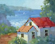 Joyce Art - Pacific View Cottage by Joyce Hicks