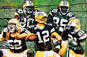 Aaron Rodgers Prints - Pack Attack Print by Bobby Zeik