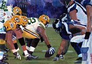 Football Paintings - Packers vs. Vikings by Robert Sesco