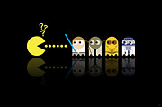 Science Fiction Metal Prints - Pacman Star Wars - 3 Metal Print by NicoWriter