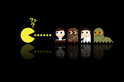 Game Digital Art Framed Prints - Pacman Star Wars - 4 Framed Print by NicoWriter