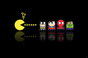 Spiderman Digital Art Prints - Pacman Superheroes Print by NicoWriter
